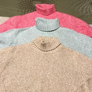 Lands End marled turtle neck sweaters